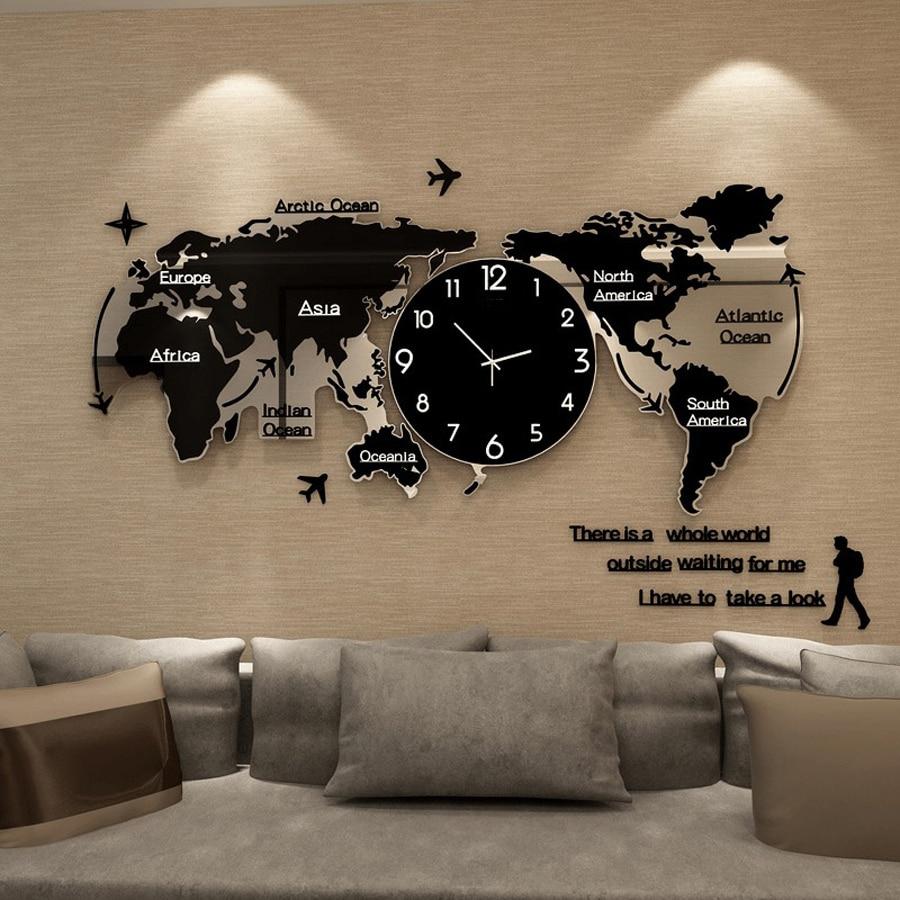 3D Stickers World Map Large Wall Clocks Modern Design Clock Glowing In Dark Unique Silent Watch Wall Clocks Home Decor
