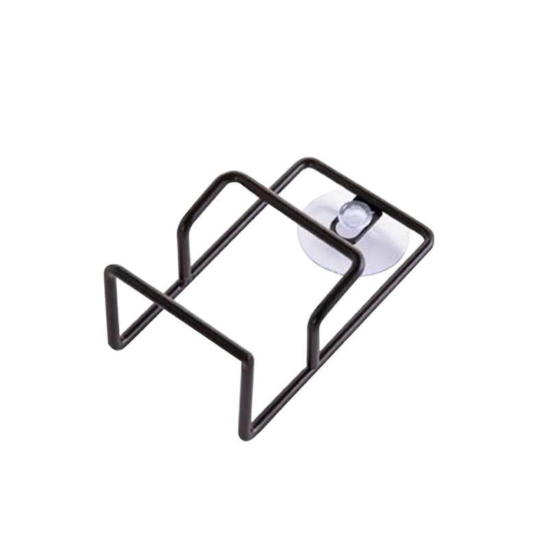Soporte de esponja con ventosa, organizador de fregadero, estante escurridor de jabón de acero inoxidable (blanco y negro)