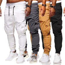 2019 New Style Fashion Men's Slim Fit Tracksuit Cotton Bottoms Skinny Casual With Pocket Pants Solid