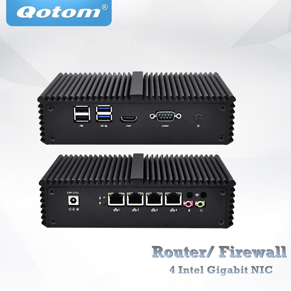 Free Shipping Qotom appliance pfsense firewall Router Q370G4 Q375G4 Core i7 4500U 5500U AES-NI Fanless 365/7/24 4 Gigabit NIC