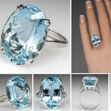 S925 argent couleur De fiançailles oeuf diamant Bague bleu De mer topaze De pierres précieuses Bizuteria Bague pour femmes Bague Etoile bijoux anneaux