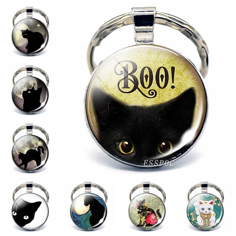 Бу! Черный кошачий стеклянный купол на брелок для Хэллоуина, подвеска, трюк или лечение, ювелирных изделий, милый котенок, брелок для ключей, подарки на день рождения