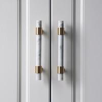 Natural Stone + Brass Knobs European T Bar Handles Drawer Pulls Kitchen Cabinet Knobs And Handles Furniture Hardware