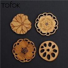 Tofok lirio de agua Lotus posavasos Mat redondo de madera mesa de té y café mantel para taza decoración del hogar, cocina Accesorios