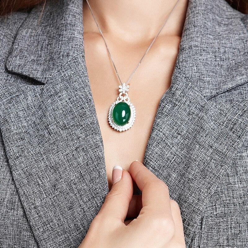 S925 Zilver Kleur Ketting Korund Hanger Jade Turquoise Sleutelbeen Sieraden Jade Emerald Bizuteria Edelsteen Hanger Voor Vrouwen