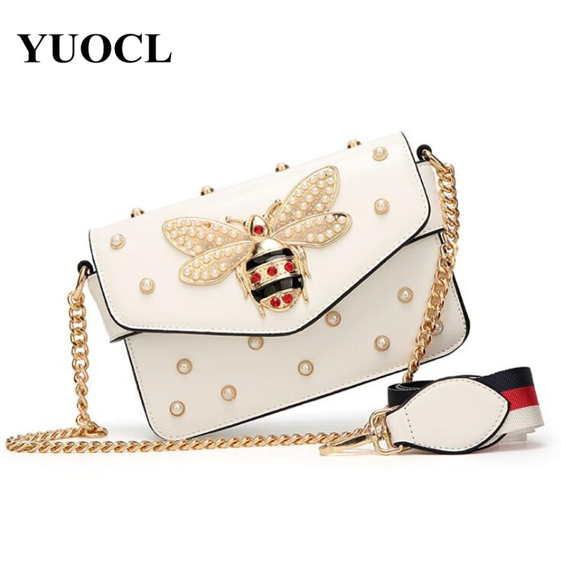 Small Pu Crossbody Bags For Women 2021 Chains Bee Luxury Handbags Designer Famous Brand Shoulder Bag Hand Sac A Main Female