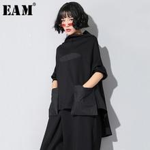 [EAM]2020 nouveau printemps automne col haut à manches longues noir poche lâche point irrégulière ourlet grande taille T-shirt femmes mode JQ018