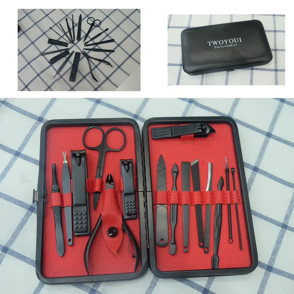 15 Pcs Pro Maniküre Set Nagel Clipper Kit Pediküre Kit Utility Pediküre Scheren Pinzette Messer Ohr Pick Nägel Kunst Werkzeuge mit Fall