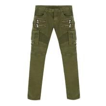 Mens Skinny Runway Distressed slim elastic jeans hiphop Washed Green Black Zipper Pockets Denim Biker Pencil Solid jeans