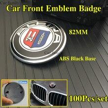 Автомобильный передний багажник, задний багажник, логотип, наклейки, 100 шт./компл., черная основа, 2 шпильки для bmw ABS, No Expoy 82 мм, авто эмблема, зн...