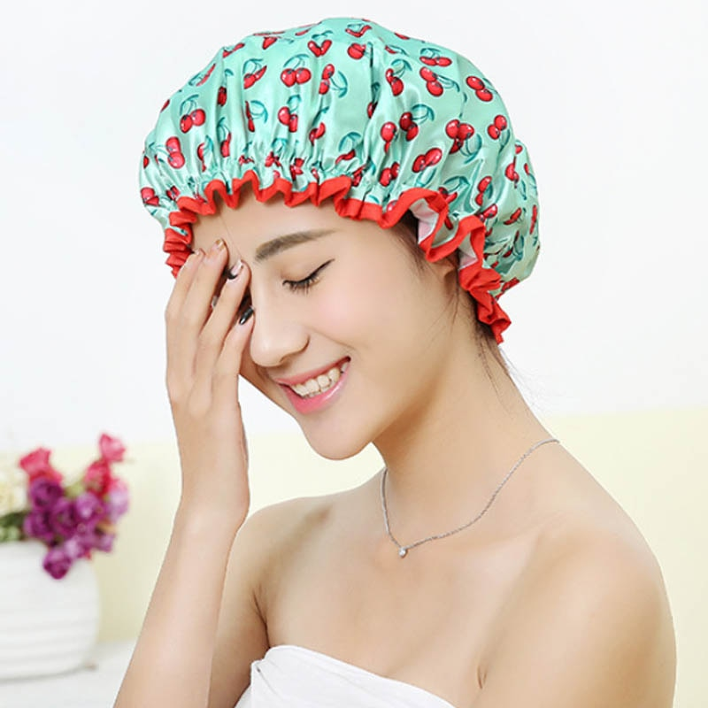 Thick 1Pcs Waterproof Bath Hat Double Layer Shower Hair Cover Women Supplies Shower Cap Bathroom Accessories