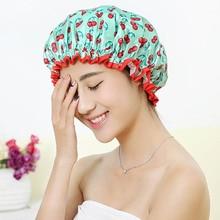 Thick 1Pcs Waterproof Bath Hat Double Layer Shower Hair Cover Women Supplies Shower Cap Bathroom Acc