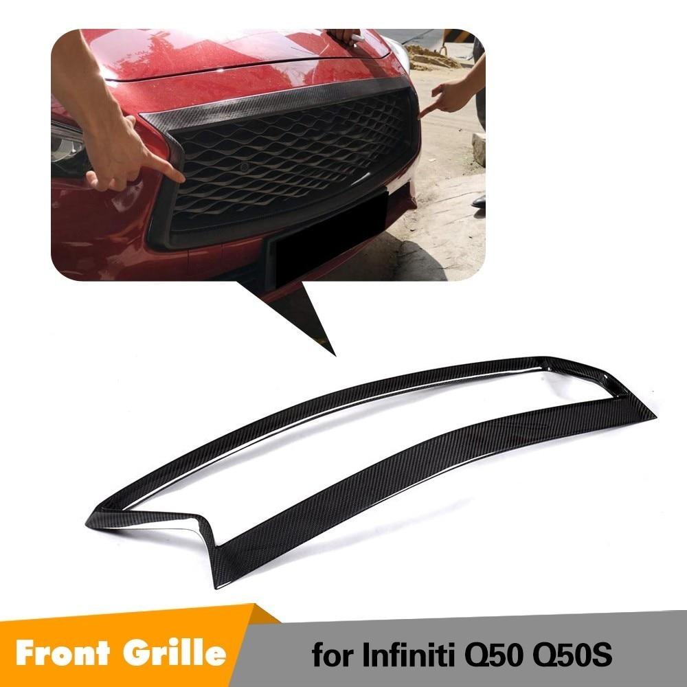 Fits for Infiniti Q50 Q50S 2018 2019 Factory Moulding Real Carbon Fiber Front Grill Outline Grille Trim Frame Decoration Emblem