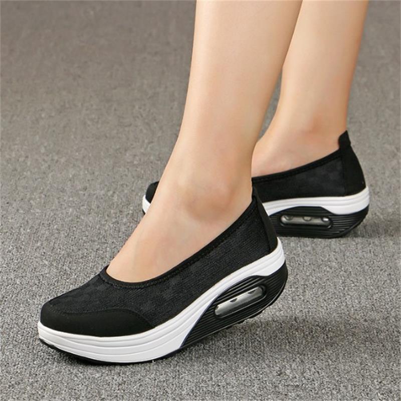 Zapatos de plataforma para mujer, mocasines vulcanizados, Calzado cómodo para mujer, calzado de otoño, zapatillas informales para mujer Cj50