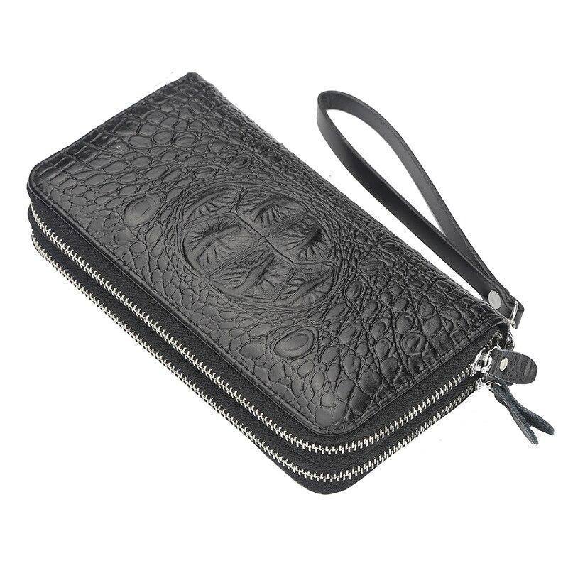 Cartera para hombre de gran capacidad, bolso de mano con doble cremallera, monedero con múltiples tarjetas, cartera para teléfono móvil