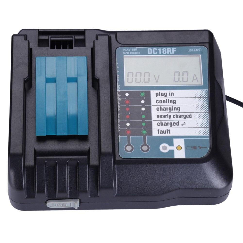 Cargador de batería de ion de litio de 14,4 V y 18 V, pantalla Digital Lcd de corriente de voltaje para Makita Dc18Rf Bl1830 Bl1815 Bl1430 Dc14Sa Dc18Sc Dc18