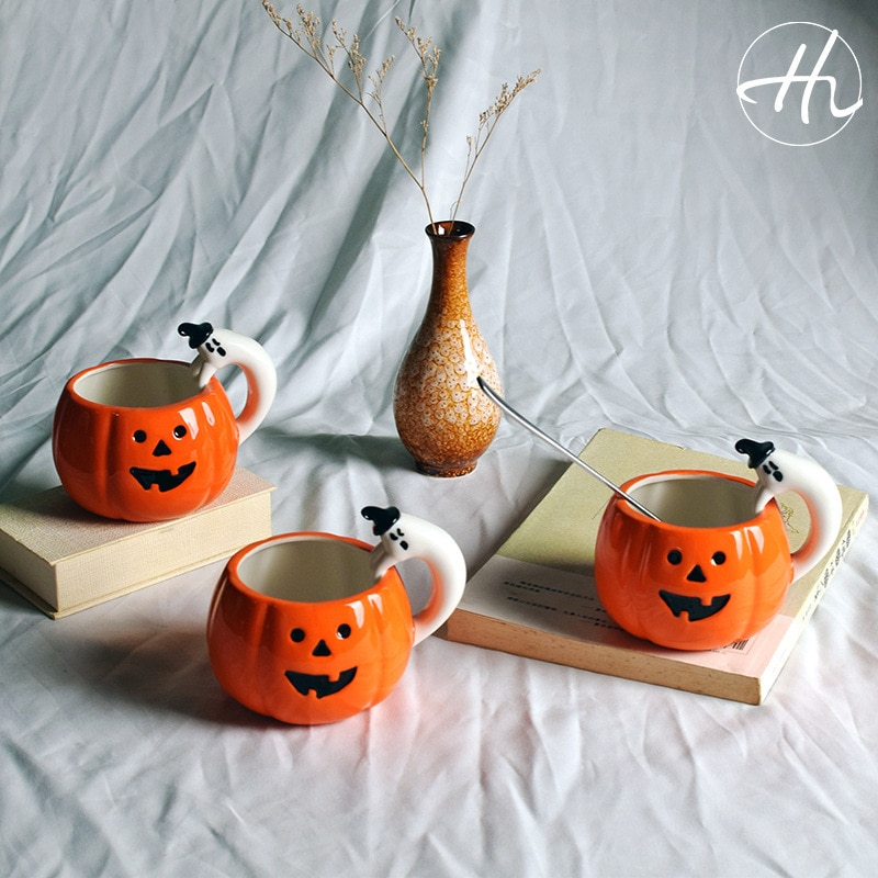 Feliz Halloween creativo 3D taza de calabaza color cerámica Glaze Cushaw jack-o-linternas taza de café divertido niños Festival regalo vaso