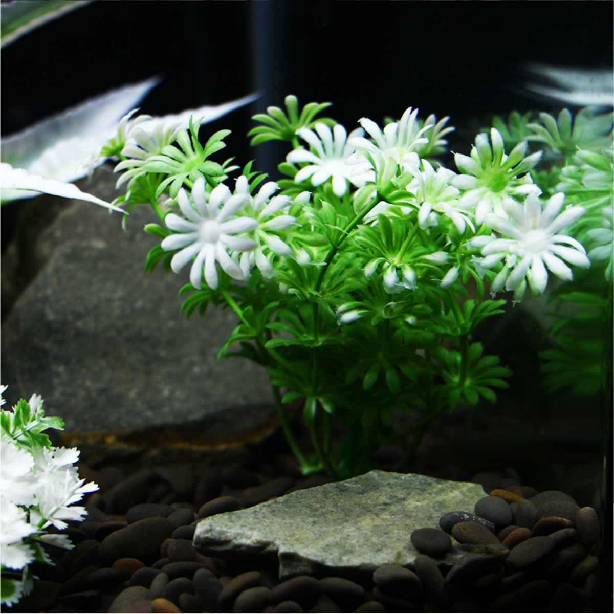 Plastic Artificial Underwater Plants Aquarium Fish Tank Decoration Green Water Grass White Leaf Crown Grass Viewing Decorations