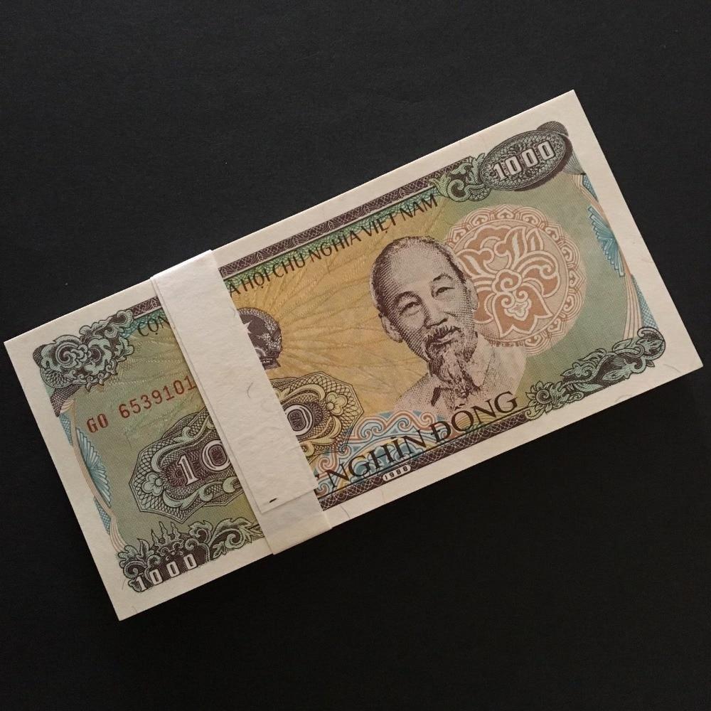Vietnam paquete completo lote 100 piezas billetes 1000 Dong de 1988 P-106 empaca. ¡Tío regalo de colección, original real, Nota de papel asiático