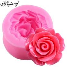 3D molde de silicona con forma de Rosa polímero arcilla jabón caramelo molde de repostería para galletas y chocolate Cupcake Topper utensilios para decoración de tortas con fondant