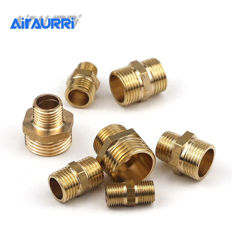 Brass Pipe Fitting Hex Nipple 1/8 1/4 3/8 1/2Male Thread Coupler Connector Copper