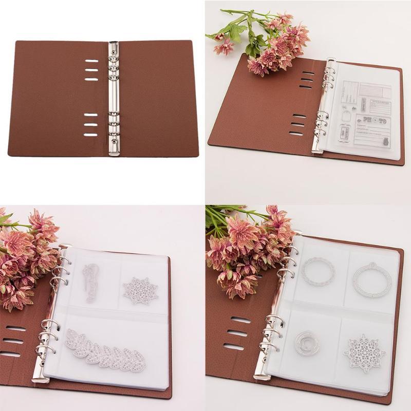 Troqueles de corte sello transparente caja de colecciones de sellos DIY Plantilla de colección de recortes cuero sintético almacenamiento libro plantilla titular