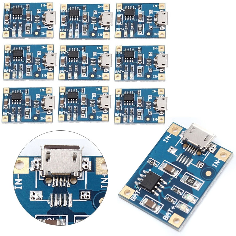 10 шт./лот 4,2 V Micro USB литиевая батарея зарядное устройство Модуль 1A TP4056 зарядка чип защита двойная функция