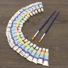 Profesjonalne 24 kolory 5 ml farby rury gwasz rysunek akwarela + 2 pędzle dla artysty School Student wody farby ręcznie malowane