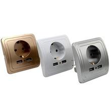 Prise ue Port USB double prise de courant   2000mA 16A, adaptateur mural pour maison intelligente, prise de charge avec adaptateur mural Usb