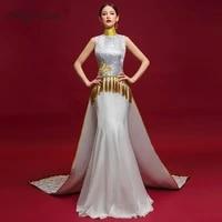fashion show white dresses embroidery long cheongsam china mermaid slim gown qi pao women chinese evening dress qipao orientale