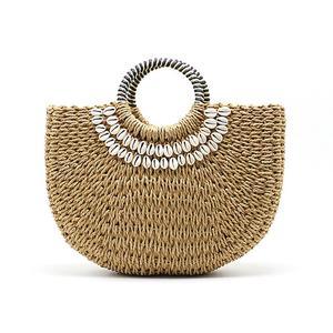 Handmade Hand Woven Straw Bags Shell Beach Handbag Tote Wrapped Moon Shape Bohemian Straw Bag For Women In Summer Handbags Totes