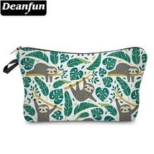 Deanfun Sloth sac cosmétique imperméable à leau impression Swanky tortue feuille sac de toilette Style personnalisé pour voyage 51476