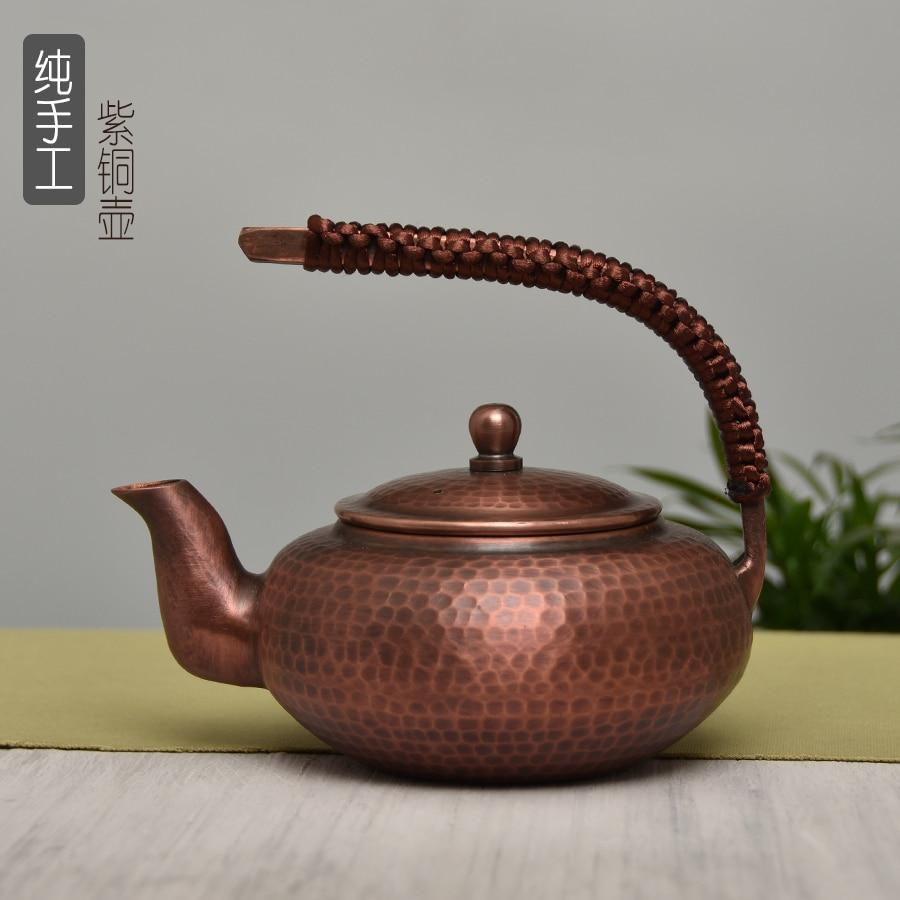 Botella de té hecha a mano de cobre puro, pequeña tetera China gruesa tetera de Kungfu puer oolong agua del té kettler
