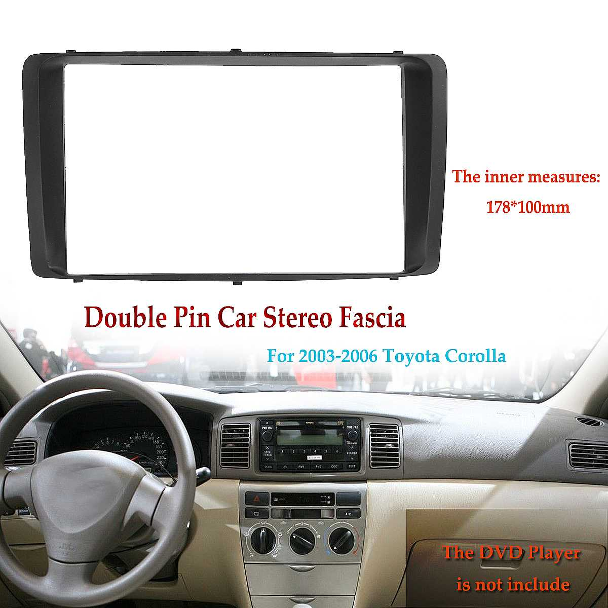 2 Din Car Stereo Radio Audio DVD CD Fascia Plate Panel Frame Dashboard Replacement for Toyota Coroll