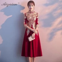 red traditional chinese wedding dress qipao women robe rouge fashion girls cheongsam cotton a line plus size evening dresses