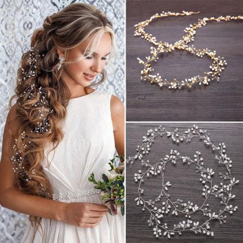 Boda enredadera para el cabello accesorios nupciales cristal perla diadema larga cadena tocado