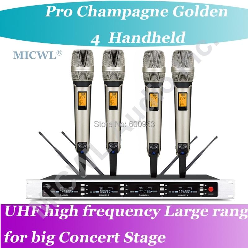 MICWL SP4-SKM9000 Pro Radio Wireless DJ & Karaoke Mikrofon System High-End-Gold 4 Handheld UHF LED digital
