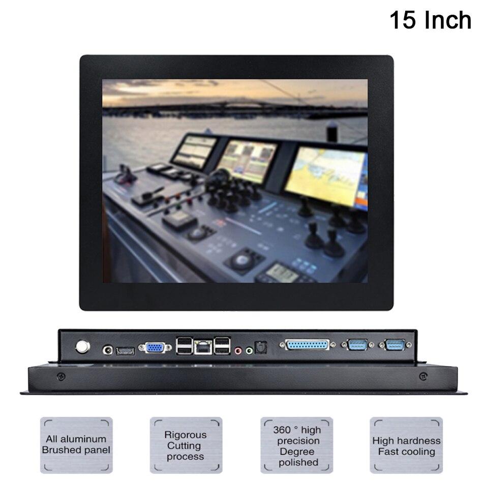 15 pulgadas LED Industrial PC Intel Celeron J1900 Windows 7/10/Linux Ubuntu 5 cable resistivo táctil pantalla [HUNSN DA09W]