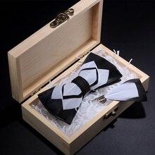 JEMYGINS-broche à nœud papillon   Original, noir blanc, en plume, fait à la main, pour jeunes hommes, broche noeud papillon, boîte cadeau, ensemble pour fête