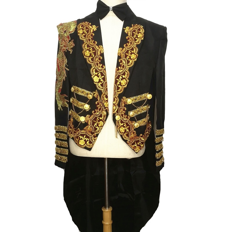 Chaqueta larga de punto negro chaqueta magia fiesta novio vestido de novia formal cantante espectáculo rendimiento etapa bar