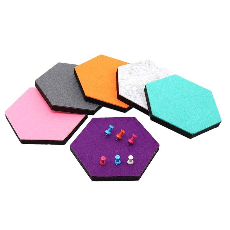 Set Von 6 Hexagon Fühlte Pin Board Selbstklebende Bulletin Memo Foto Kork Boards Bunte Schaum Wand Dekorative Fliesen Mit 6 Pushp