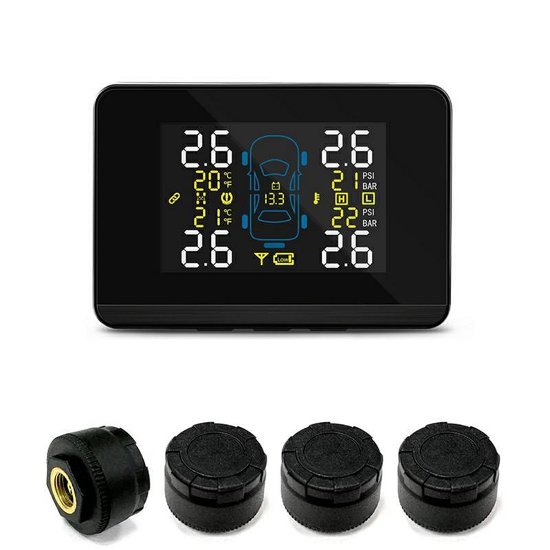 CAREUD DC8V-DC16V Universal para coche TPMS sistema inalámbrico de control de presión de neumáticos + Sensor externo de 4 ruedas
