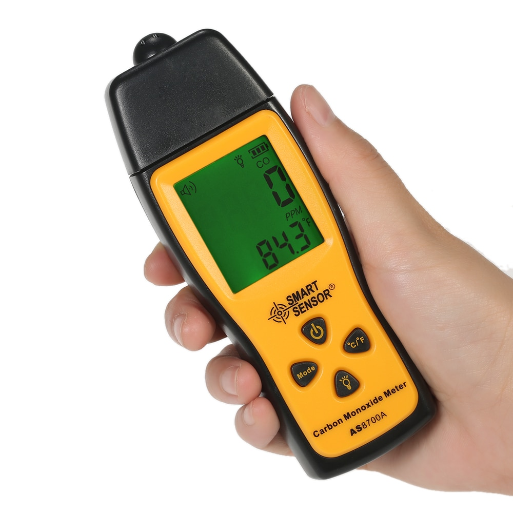 SENSOR inteligente AS8700A, analizadores de Gas, medidor de monóxido de carbono portátil, probador, Monitor, Detector, pantalla LCD, alarma de luz de sonido