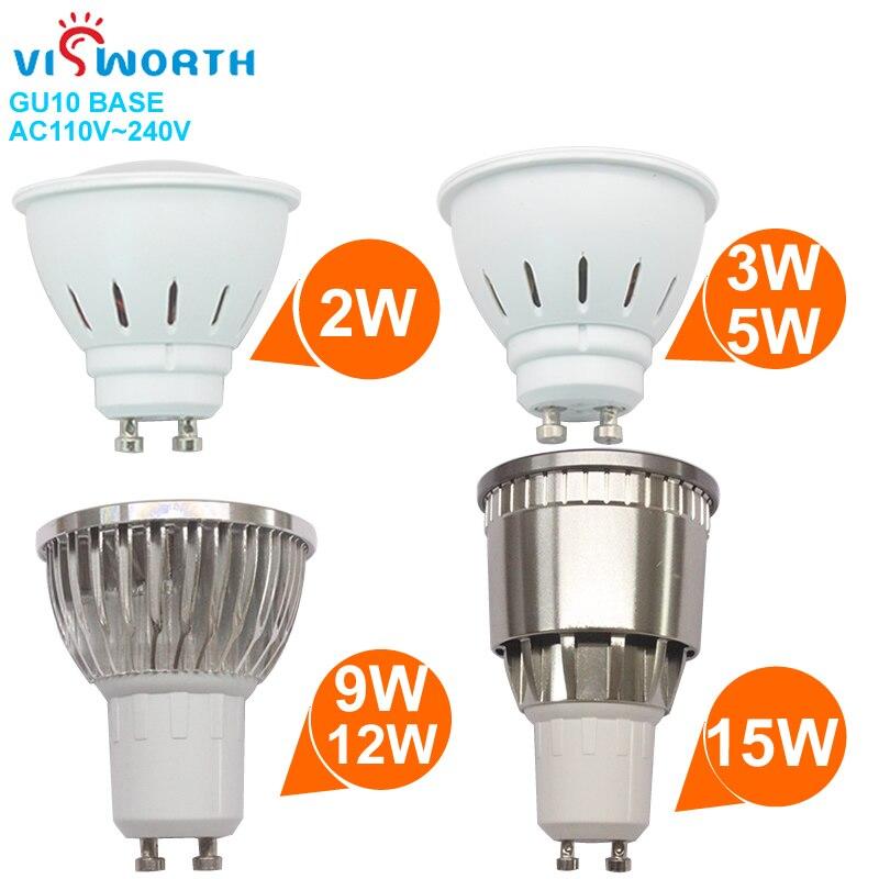 [VisWorth 2W 3W 5W Led proyector Gu10 SMD2835 W 9W 12W 15W Cob luz Led Ac 110V 220V 240V lámpara escarchada cálido frío bombilla de luz blanca