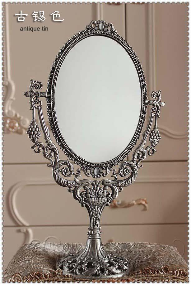 Graus de Giro Espelho de Maquiagem Cosmético em Relevo Oval Duplo-face Desktop Decorativo Cômoda Espelho Metal Quadro 331a 360
