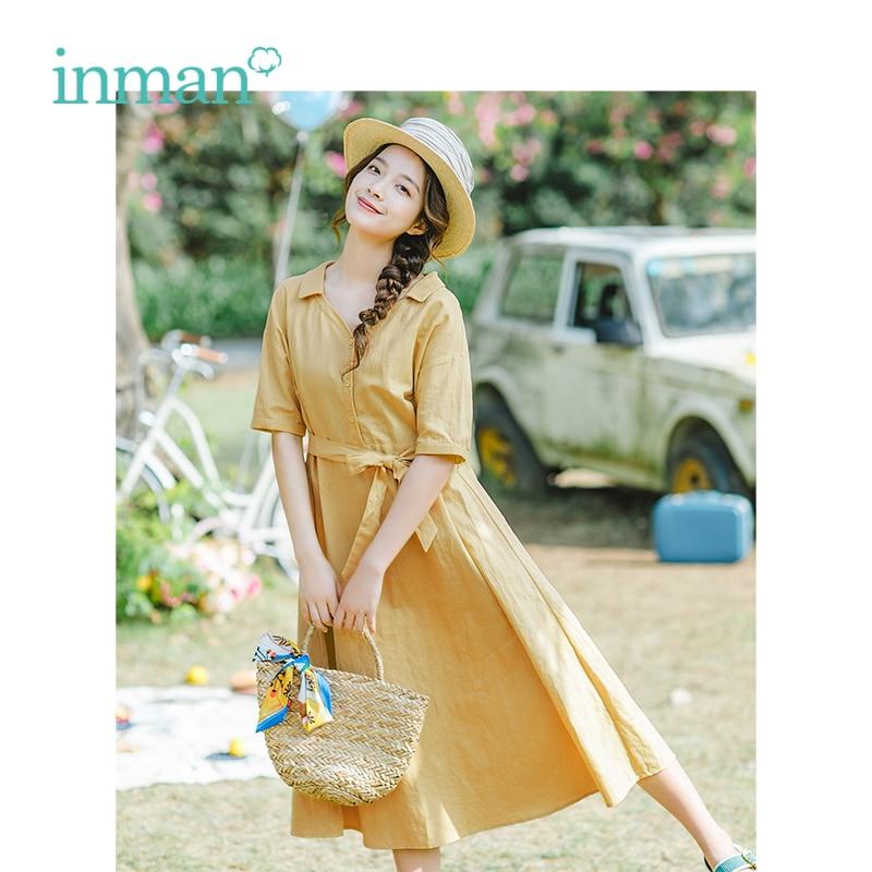 INMAN Summer V-neck Literary Pastoral Style Defined Waist Slim Short Sleeves A-line Women Dress