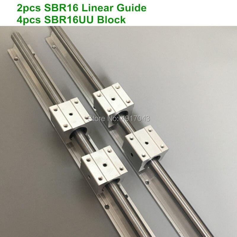 2 قطعة SBR16 16 مللي متر خطي السكك الحديدية 700 750 800 900 1000 مللي متر دعم جولة دليل السكك الحديدية + 4 قطعة SBR16UU الشريحة بلوك ل cnc أجزاء
