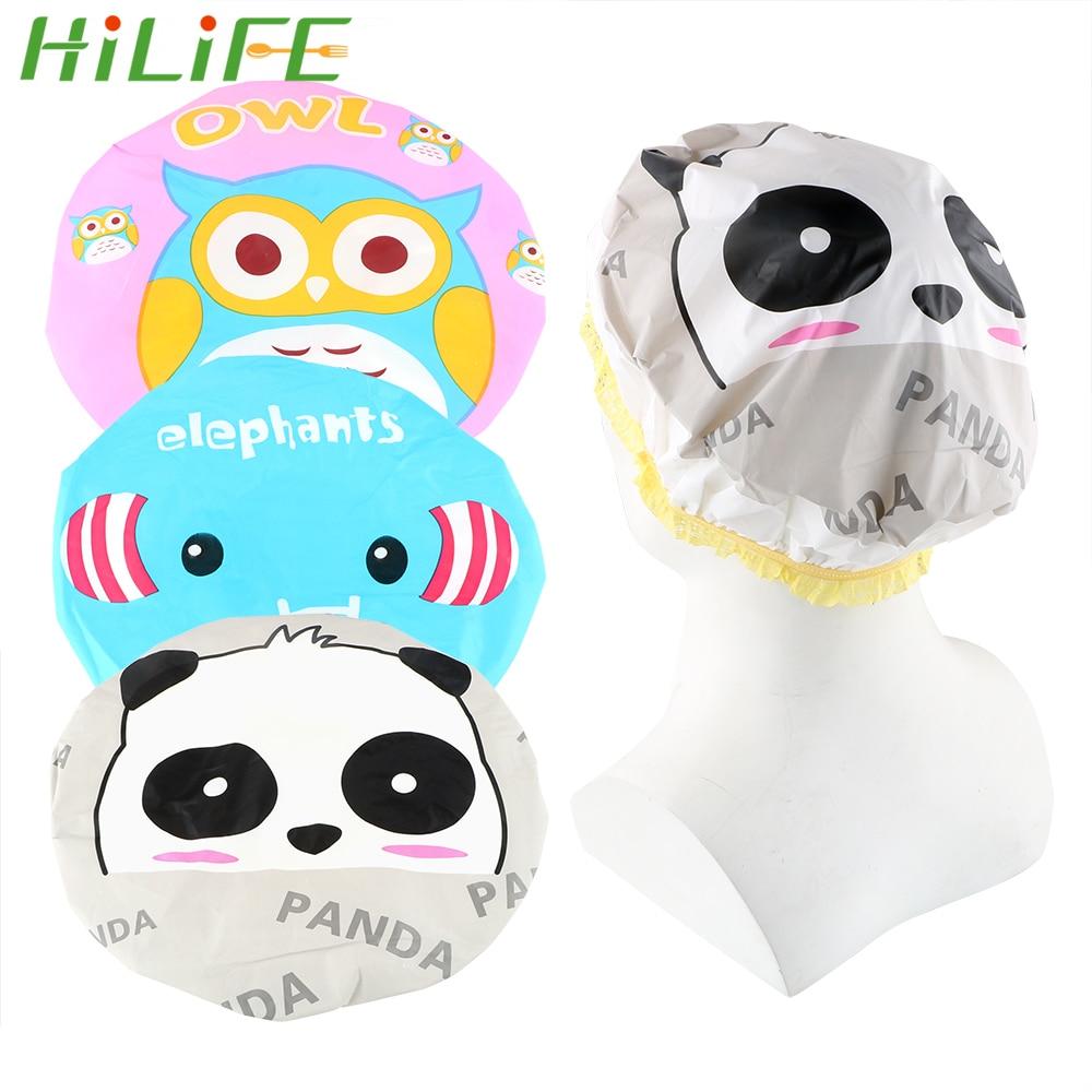 HILIFE búho elefante Panda mercancías domésticas banda elástica de encaje lindo Animal de dibujos animados gorro de ducha gorros de baño gorros de pelo