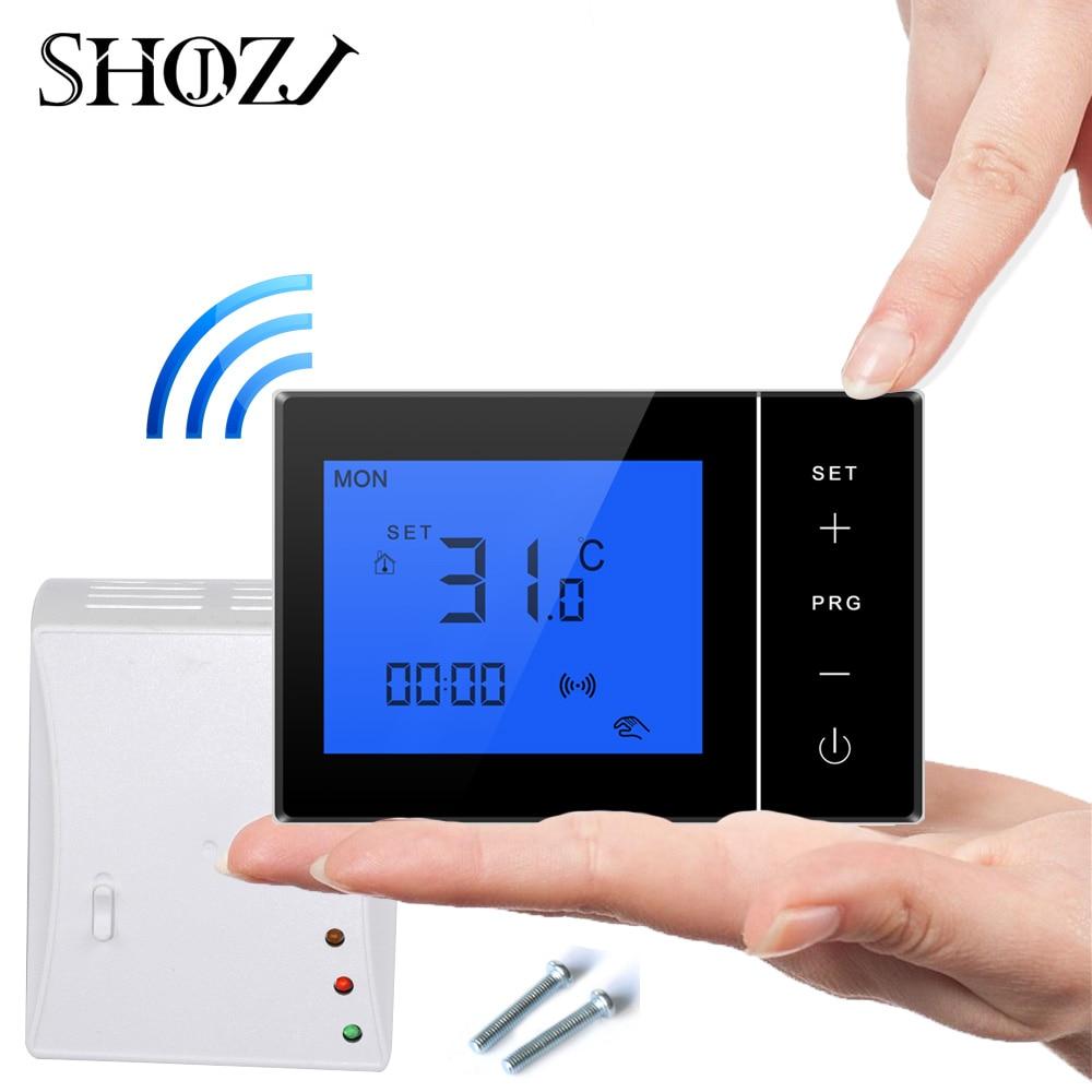 Control inalámbrico programable de samrt house de caldera de Gas ajustable con receptor TRANSMISOR DE RF termostato de placa de montaje