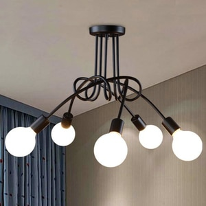 Free shipping Simple Creative Black & white E27 ceiling lamp vintage personality modern brief led chandelier light